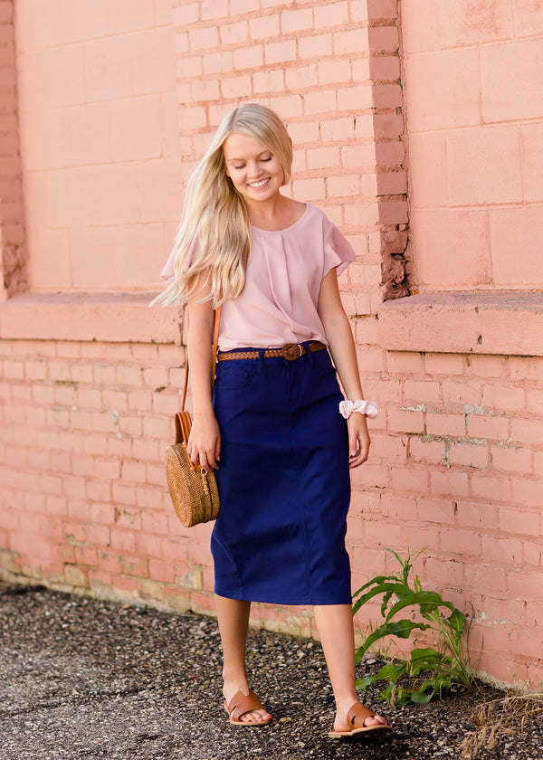 Inherit Co.  | Modest Women's Skirts | Remi Cobalt Blue Midi Skirt | women's modest cobalt blue below the knee denim jean skirt