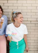 Inherit Co.  | Modest Clothing on Sale | Hi Hello Hola Hey Graphic Tee | hi hello hola hey cotton graphic tee