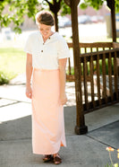 Inherit Co.  | Modest Plus Size Clothing | Kelly Midi and Maxi Skirt | Emerald, coral, and gray midi and maxi modest skirts