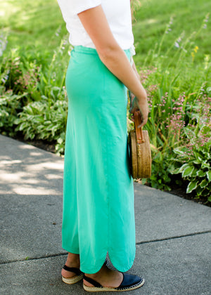 Emerald, coral, and gray midi and maxi modest skirts