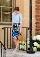 Inherit Co.  | Modest Women's Skirts | Brooke Midi Skirt | navy, yellow, and blue womens modest pencil midi skirts