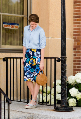 Inherit Co.  | Modest Women's Skirts | Remi Tiffany Blue Midi Skirt |