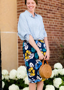 Inherit Co.  | Modest Women's Skirts | Brooke Midi Skirt | navy, yellow, and blue modest pencil midi skirts