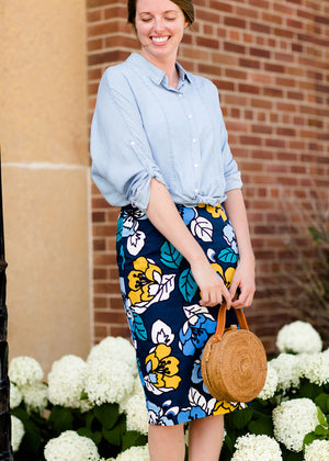 navy, yellow, and blue modest pencil midi skirts