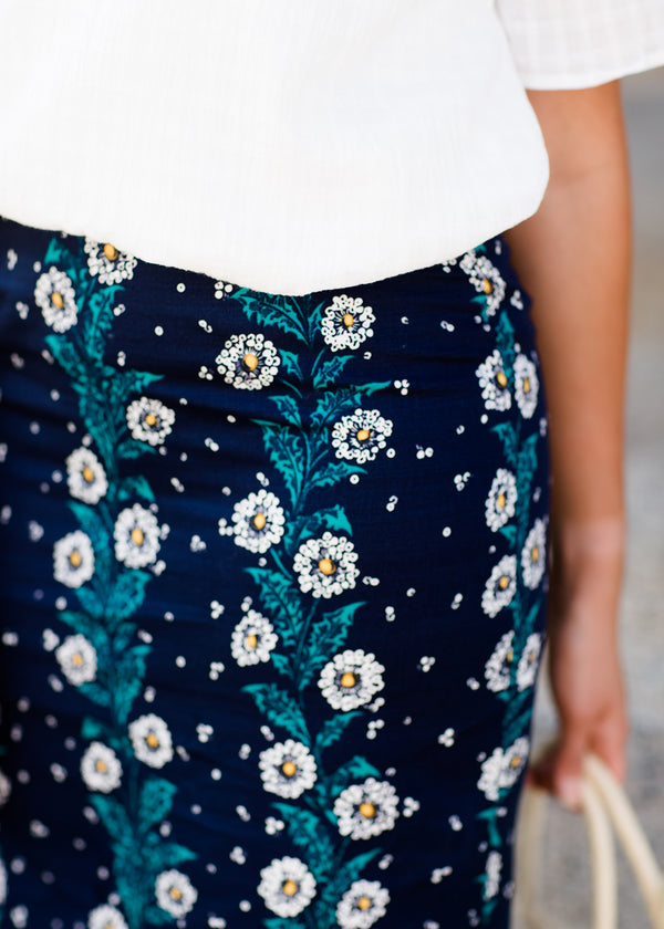Inherit Co.  | Inherit Exclusives | Brooke Midi Skirt | navy, yellow, and blue modest pencil midi skirts