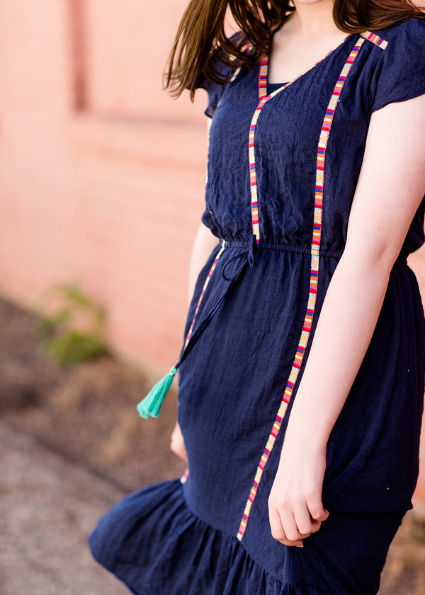 Inherit Co.  | Multi Color Detail Midi Dress | Navy midi dress with colorful embroidered accents