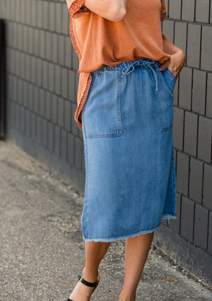 Sky Drawstring Waist Chambray Denim Midi Jean Skirt