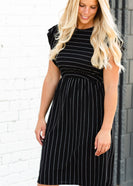 Black Striped Flutter Sleeve Midi Dress - FINAL SALE