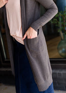 womens charcoal or gold long open front cardigan