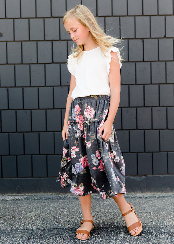 girls gray and floral tiered midi skirt