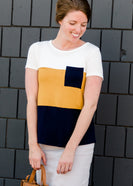 navy yellow and white block tee shirt