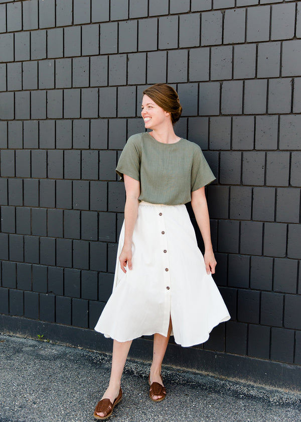 Highwaist white button front a line modest midi skirt