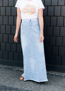 distressed light denim a-line long skirt