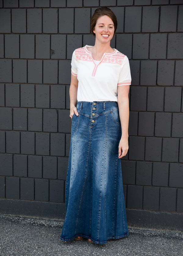 Inherit Co.  | Modest Women's Skirts | Casual A-Line Jean Skirt | Long a-line denim skirt with a button detail