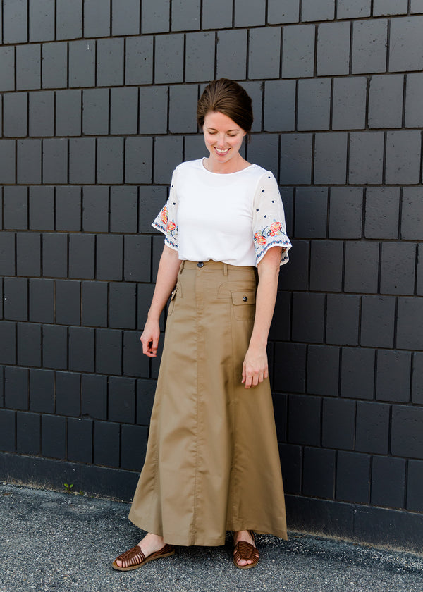 khaki a-line long skirt