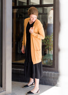 Inherit Co.  | Modest Women's Tops | Stretch Knit Detail Cardigan - FINAL SALE | Camel long knit cardigan with pockets