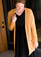 Camel long knit cardigan with pockets