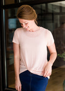 blush twist hem modest tee