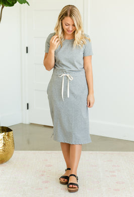 Inherit Co.  | Summer Clearance | Blousy Front Navy Midi Dress - Final Sale |