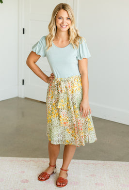 Inherit Co.  | Fall Flash Sale | Buttery Soft Floral Midi Dress w/ Flyaway Sleeves - FINAL SALE |