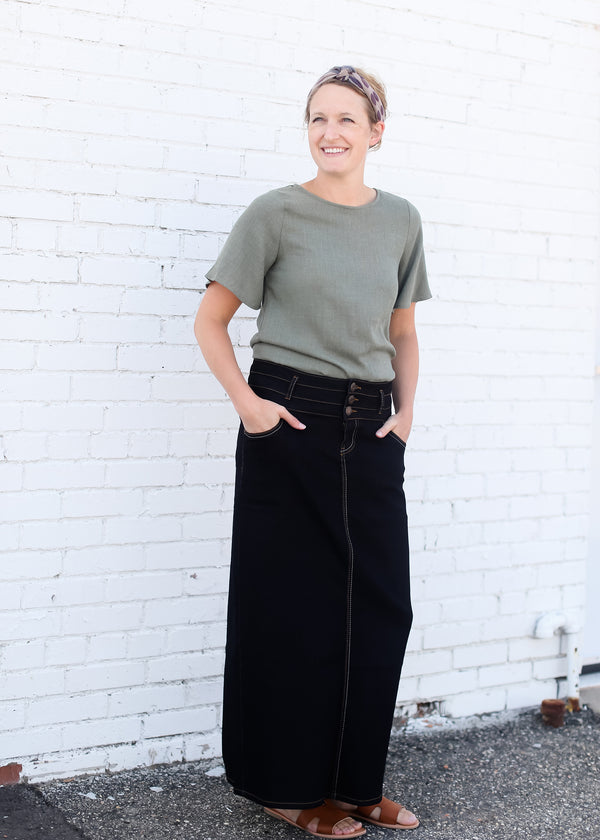 Inherit Co.  | Modest Plus Size Clothing | Triple Button Long A-Line Denim Skirt | triple button womens long aline denim black wash skirt