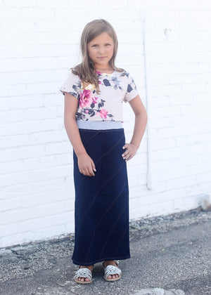 girls mommy and me aline style elastic waist jean skirt