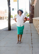 Inherit Co.  | Modest Plus Size Clothing | Remi Teal Midi Skirt | modest women's teal colored below the knee denim skirt