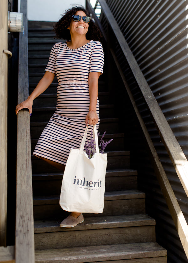 Inherit Co.  | Women's Modest Dresses | Kristen Striped Midi Dress | Blush and navy striped women's modest midi dress