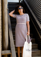 Blush and navy striped women's modest midi dress