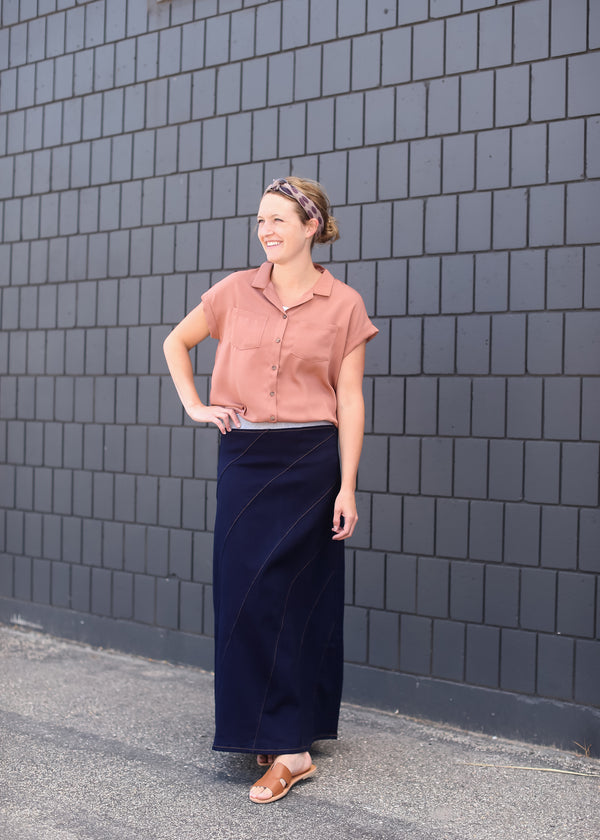 Inherit Co.  | Modest Women's Skirts | Dark Denim Stitchwork Skirt | woman wearing a long aline no slit denim skirt