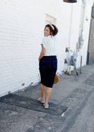 dark denim midi skirt with a 3 button front