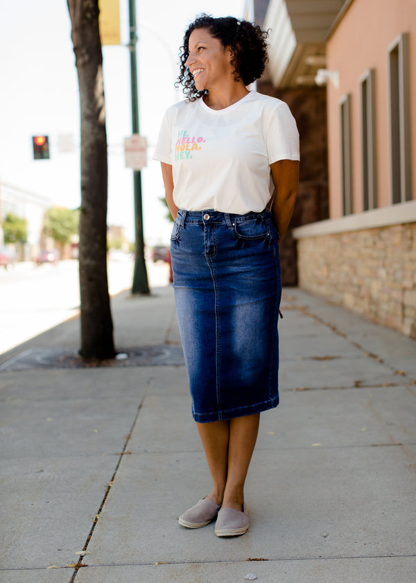 modest midi denim skirt with back pocket detail