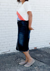 distressed denim midi skirt