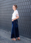 Inherit Co.  | Fly Stitch Long Denim A-line Skirt | Long a-line womens skirt with fly stitching detail