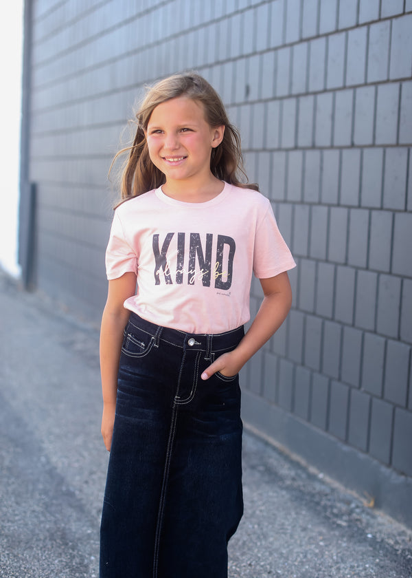 Inherit Co.  | Always Be Kind Graphic Tee | Girls Peach Be Kind Graphic Tee