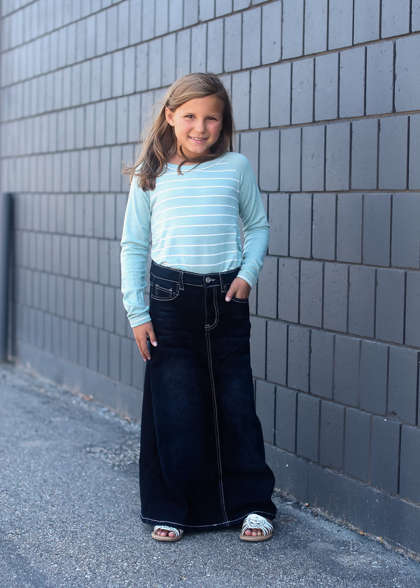 little girls long a-line skirt in a black wash denim