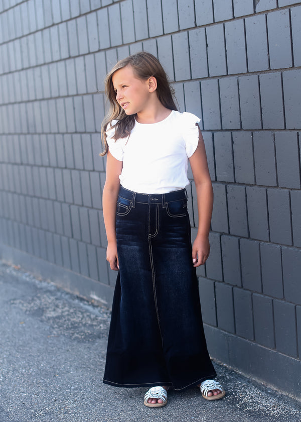 girls dark denim long skirt with adorable back pocket stitching