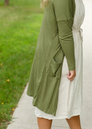 Olive Lightweight Open Ribbed Cardigan - FINAL SALE