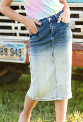 Inherit Co.  | Modest Girls Skirts | Girls Denim Dark Wash Midi Skirt |