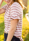 Mauve Striped Ruffle Sleeve Tee - FINAL SALE