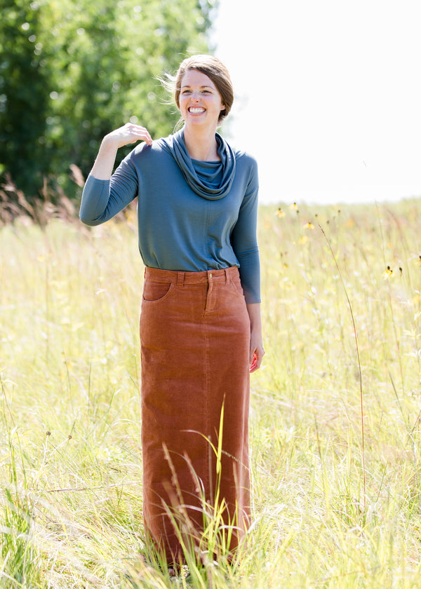 Inherit Co.  | Inherit Originals | Gwen Long Corduroy Skirt | womens long corduroy maxi skirt in fall colors