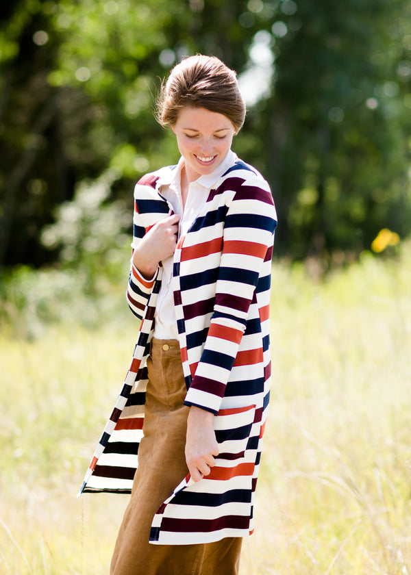 Inherit Co.  | Modest Plus Size Clothing | French Terry Striped Cardigan | multi color striped long duster cardigan