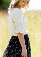 ivory gathered sleeve 3/4 blouse