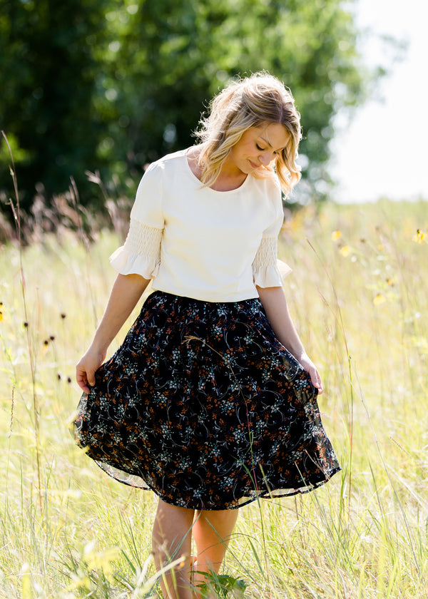 Inherit Co.  | Modest Clothing on Sale | Rusty Floral Flowy Midi Skirt | Rust and Navy floral flowy midi skirt