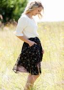 Inherit Co.  | Modest Plus Size Clothing | Rusty Floral Flowy Midi Skirt | Rust and Navy floral flowy midi skirt