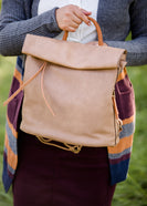 tan faux leather backpack