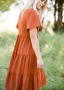 orange ruffle tiered midi dress