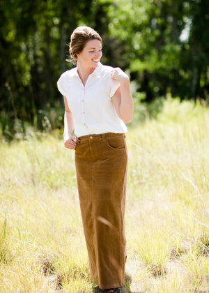 Women's button up modest cream and tan top