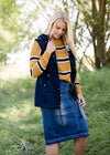 mustard color block boxy knit sweater
