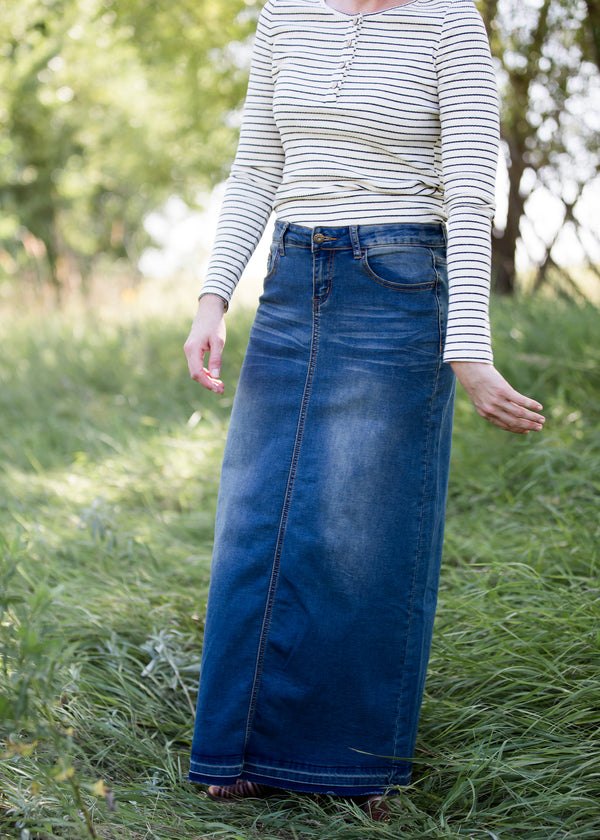 Inherit Co.  | Inherit Originals | Cheyenne Long Denim Skirt | women wearing a long raw edge hem denim skirt